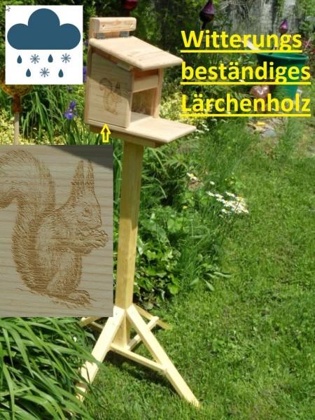Eichhörnchen Futterhaus Premium aus Lärchenholz mit Ständer