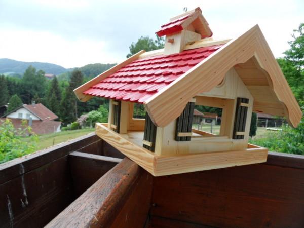 Vogelhaus Futterhaus Almhütte XXL Rot